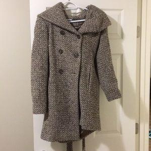 Calvin Klein wool coat brown/tan/off white